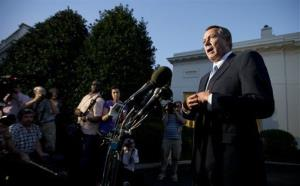 House Speaker John Boehner speaks to reporters following a meeting with President Obama at the White House.