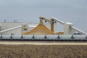 Frac sand destined for the oil and gas fields piles up at a processing plant in Chippewa Falls, Wisconsin.