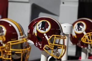 File photo of Washington Redskins helmets.