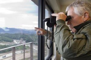 In a file photo, Secretary of Defense Chuck Hagel observes military training in South Korea.