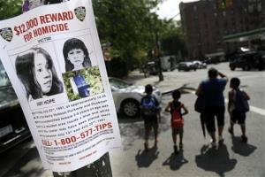 A poster soliciting information regarding an Baby Hope near the site where the body was found in New York.