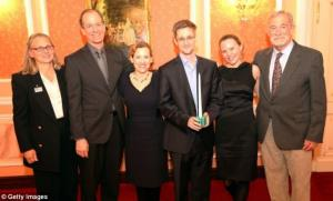 Edward Snowden accepts an award for integrity in intelligence with former US intelligence officials.