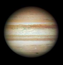 The planet Jupiter is seen in a NASA photo taken by the Hubble telescope.