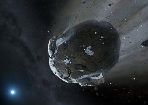 Artist impression of a rocky and water-rich asteroid being torn apart by the gravity of the white dwarf star GD 61.