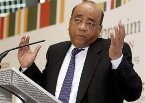 Mo Ibrahim speaks at a press conference in London.