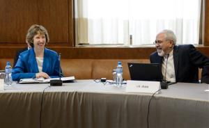 EU High Representative for Foreign Affairs Catherine Ashton, left, and Iranian Foreign Minister Mohammad Javad Zarif share a light moment at the start of the two days of closed-door nuclear talks.