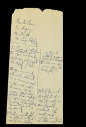 This undated photo released by Sotheby's auction house in New York shows Martin Luther King Jr.'s scribbled notes for a speech.