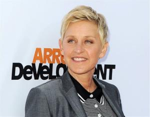 In this April 29, 2013 file photo, TV host Ellen DeGeneres arrives at the season 4 premiere of Arrested Development in Los Angeles.