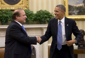 President Barack Obama shakes hands with Pakistan Prime Minister Nawaz Sharif at the conclusion of their meeting in the Oval Office of the White House, Wednesday, Oct. 23, 2013.