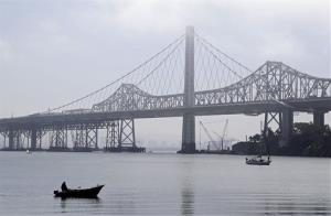 File photo of a pair of boats making their toward Clipper Cove on Treasure Island in the San Francisco Bay.