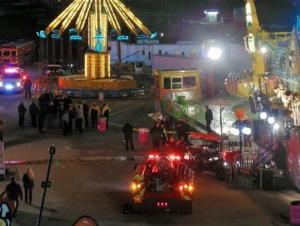 Emergency crews respond to the scene where a ride malfunctioned at the North Carolina State Fair.