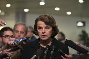 Sen. Dianne Feinstein, D-Calif., speaks to the media after attending a meeting regarding National Security Agency programs, on Capitol Hill in Washington, Thursday, June 13, 2013.