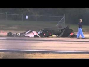 Wreckage of the small plane at Nashville International Airport.