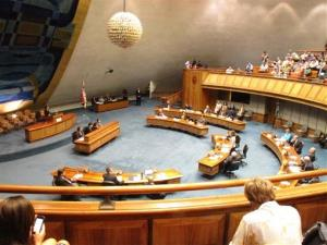 Members of the Hawaii Senate convene on the Senate floor of the Hawaii Capitol in Honolulu on Wednesday, Oct. 30, 2013. The senators passed a gay marriage bill, sending the measure to the House.