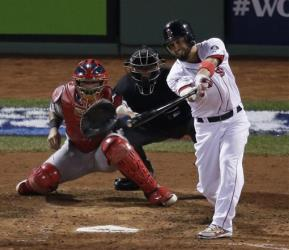 Shane Victorino hits an RBI single during the fourth inning.