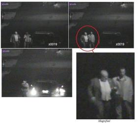These annotated video frame grab images provided by the Toronto Police Service show Mayor Rob Ford, left, and his friend, Alexander Lisi.