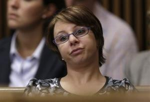 Michelle Knight listens as Ariel Castro speaks during the sentencing phase of his trial on Aug. 1.