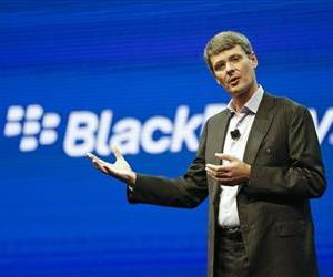 In this May 14, 2013 photo, Thorsten Heins, president and CEO at BlackBerry, speaks at a conference in Orlando, Fla.