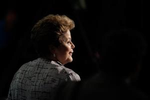 Brazil's President Dilma Rousseff leaves after attending the opening of a global conference on child labor in Brasilia, Brazil, Tuesday, Oct. 8, 2013.