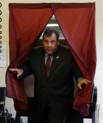 Republican New Jersey Gov. Chris Christie steps from the booth after voting in Mendham Township, N.J., Tuesday.