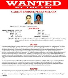 This image provided by the FBI shows the wanted poster for Carlos Enrique Perez-Melara.