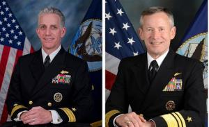 Rear Adm. Bruce F. Loveless, left, and Vice Adm. Ted Branch in an official portraits.