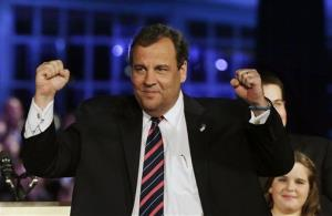 In this Nov. 5, 2013 file photo, Gov. Chris Christie celebrates his election victory in Asbury Park, NJ.