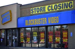A closing Blockbuster stores in Racine, Wis.