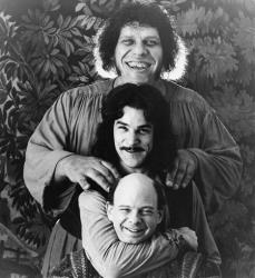 This undated file image originally released by 20th Century Fox shows Andres The Giant, top, Mandy Patinkin, center, and Wallace Shawn in The Princess Bride.