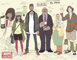 This comic book image released by Marvel Comics shows character Kamala Khan , second left, with her family.