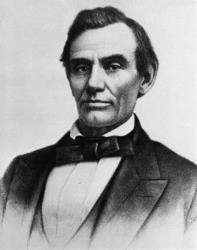 President Abraham Lincoln is shown in a photograph by W.A. Thomson.