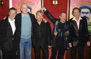 From left, Michael Palin, John Cleese, Terry Jones, Terry Gilliam, and Eric Idle attend the IFC and BAFTA premiere of Monty Python: Almost The Truth (The Lawyer's Cut), in New York in 2009.
