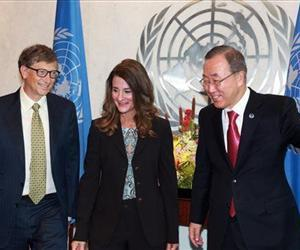 U.N. Secretary General Ban Ki-moon, right, meets with Bill and Melinda Gates, at U.N. Headquarters during the 68th session of UN General Assembly Wednesday, Sept. 25, 2013.
