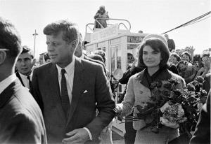 In this Nov. 22, 1963, photo, President John F. Kennedy and wife Jackie arrive at Love Field airport in Dallas.