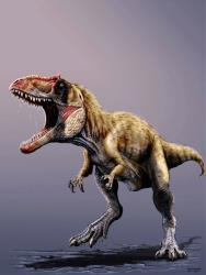 A newly discovered dinosaur named Siats meekerorum appears in this artist's rendering.