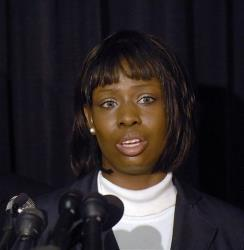 FILE - In a Oct. 23, 2008 file photo, Crystal Mangum, who falsely accused Duke lacrosse players of rape, addresses the media during a press conference on the release of Mangum's book, in Durham, N.C.  Durham Police Chief Jose Lopez Jr. told The Herald-Sun of Durham on Wednesday, April...