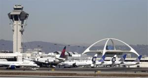 Airplanes sit on the tarmac at Los Angeles International Airport.