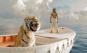 This 20th Century Fox image shows Suraj Sharma as Pi Patel in a scene from Life of Pi. The tiger 'damn near drowned,' says an email from an AHA rep on the set, but the incident was downplayed.