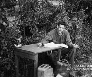 This undated image provided by The Story Factory, shows J.D. Salinger working on Catcher in the Rye during World  War II.