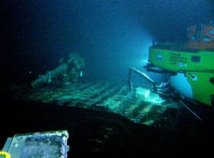 A submersible investigates the wreck of the mega-sub.