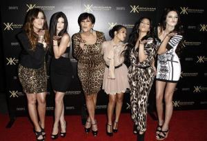 Khloe Kardashian, Kylie Jenner, Kris Jenner, Kourtney Kardashian, Kim Kardashian, and Kendall Jenner arrive at the Kardashian Kollection launch party in Los Angeles on Aug. 17, 2011.