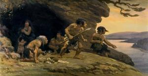 This mural provided by the American Museum of Natural History depicts Neanderthal life.