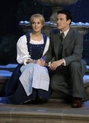 This image released by NBC shows Carrie Underwood, left, as Maria, and Stephen Moyer as Captain Von Trapp  during preparations for The Sound of Music Live!, in Bethpage, NY.