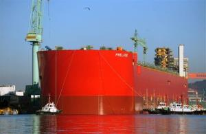 The floating facility Prelude lies in the shipyard of Samsung Heavy Industry in Geoje, South Korea.