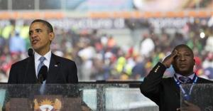 Thamsanqa Jantjie interprets in sign language for President Obama (or tries to) during the Mandela service.