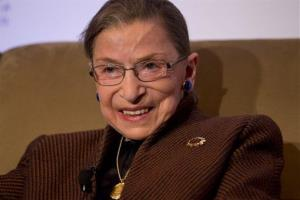 Supreme Court Justice Ruth Bader Ginsburg smiles while speaking to the Northern Virginia Technology Council, Tuesday.