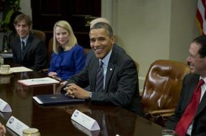 President Obama meets with technology executives in the Roosevelt Room of White House. From left are, Mark Pincus of Zynga, Marissa Mayer of Yahoo, Obama, and Randall Stephenson of AT&T.