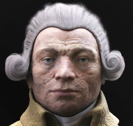 This 3D reconstruction released Friday Dec.20, 2013 by VisualForensic shows Robespierre's face according to two French scientists.