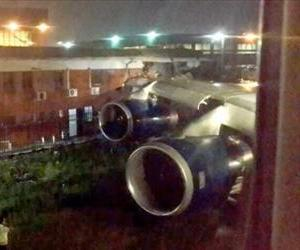 A British Airways jet is seen following its crash into a building in this YouTube screenshot.