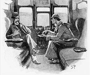 An image of Holmes and Watson from 'The Adventure of Silver Blaze,' which was published in The Strand Magazine in December 1892.